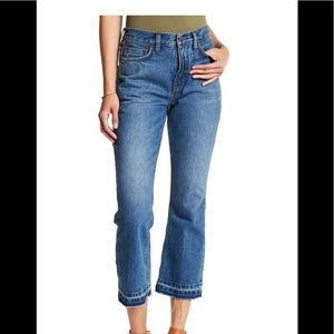 Free People High Rise Mom Jeans crop released hem